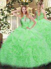 High Class Floor Length 15 Quinceanera Dress Organza Sleeveless Beading