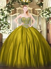 Graceful Satin Sweetheart Sleeveless Lace Up Beading 15 Quinceanera Dress in Olive Green