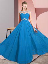 Sleeveless Beading Clasp Handle Evening Dress