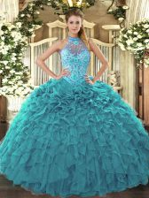 Sleeveless Lace Up Floor Length Beading and Embroidery and Ruffles Ball Gown Prom Dress