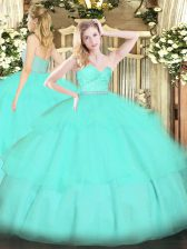 Floor Length Apple Green Sweet 16 Dress Tulle Sleeveless Beading and Lace and Ruffled Layers