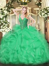 Glorious V-neck Sleeveless Quinceanera Gown Floor Length Beading and Ruffles Green Organza