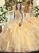 Champagne Ball Gowns High-neck Sleeveless Organza Floor Length Lace Up Beading and Ruffles Sweet 16 Dress