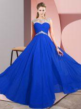 Wonderful Chiffon Sleeveless Floor Length Prom Dresses and Beading
