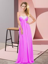 Lilac Empire Sweetheart Sleeveless Chiffon Floor Length Lace Up Ruching Dress for Prom