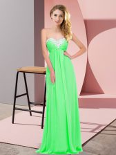 Floor Length Empire Sleeveless Apple Green Dress for Prom Lace Up