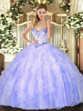 Sweetheart Sleeveless Quinceanera Dresses Floor Length Beading and Ruffles Lavender Organza