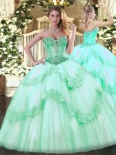 Apple Green Lace Up Quince Ball Gowns Beading and Appliques Sleeveless Floor Length