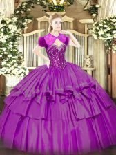 Fuchsia Sleeveless Organza and Taffeta Lace Up Sweet 16 Quinceanera Dress for Military Ball and Sweet 16 and Quinceanera