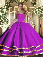 Fine Floor Length Purple Sweet 16 Dress Halter Top Sleeveless Lace Up