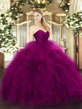 Romantic Sleeveless Tulle Floor Length Zipper 15 Quinceanera Dress in Fuchsia with Ruffles