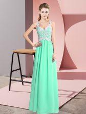 Deluxe Floor Length Empire Sleeveless Apple Green Prom Evening Gown Zipper