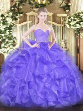 Perfect Floor Length Ball Gowns Sleeveless Lavender Sweet 16 Quinceanera Dress Zipper