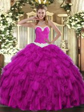 Elegant Fuchsia Sweetheart Neckline Appliques and Ruffles Quinceanera Dresses Sleeveless Lace Up