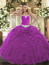 Fitting Sweetheart Sleeveless Quinceanera Dress Floor Length Appliques and Ruffles Fuchsia Organza