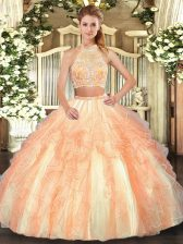 Halter Top Sleeveless Criss Cross Quinceanera Gown Gold Tulle