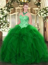 Green Sleeveless Floor Length Appliques and Ruffles Lace Up Sweet 16 Quinceanera Dress