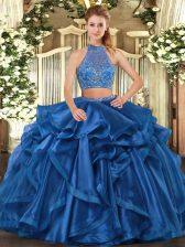 Blue Organza Criss Cross Halter Top Sleeveless Floor Length Sweet 16 Dresses Beading and Ruffled Layers