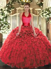 Custom Fit Red Sleeveless Organza Lace Up Quinceanera Gowns for Military Ball and Sweet 16 and Quinceanera
