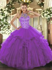 Floor Length Ball Gowns Sleeveless Purple Sweet 16 Dress Lace Up