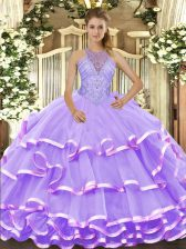 Wonderful Lavender Organza Lace Up Halter Top Sleeveless Floor Length Quinceanera Dresses Beading and Ruffled Layers