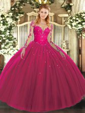 Long Sleeves Floor Length Lace Lace Up Quinceanera Gowns with Hot Pink