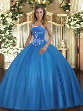 Fashionable Baby Blue Sleeveless Beading Floor Length Sweet 16 Dresses