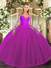 Long Sleeves Lace Up Floor Length Lace Ball Gown Prom Dress