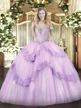 Perfect Sweetheart Sleeveless Tulle Vestidos de Quinceanera Beading and Appliques Lace Up