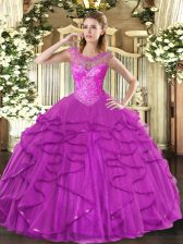 Fuchsia Sweetheart Neckline Beading and Ruffles Ball Gown Prom Dress Sleeveless Lace Up