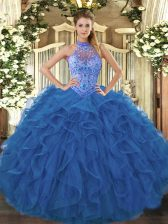Sleeveless Beading and Embroidery and Ruffles Lace Up Quinceanera Gown