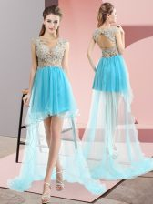 Amazing Sleeveless Sweep Train Lace Up High Low Beading Prom Evening Gown