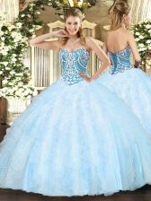 Suitable Sleeveless Tulle Floor Length Lace Up 15th Birthday Dress in Light Blue with Beading and Ruffles