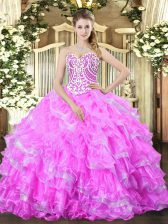 Beautiful Lilac Lace Up 15 Quinceanera Dress Beading and Ruffled Layers Sleeveless Floor Length