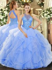 Luxurious Beading and Ruffles Quinceanera Gown Light Blue Lace Up Sleeveless Floor Length