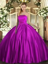 Ruching Quince Ball Gowns Fuchsia Lace Up Sleeveless Floor Length