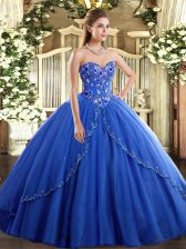 Excellent Blue Sweetheart Lace Up Appliques and Embroidery Quince Ball Gowns Brush Train Sleeveless