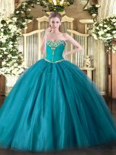 Edgy Teal Ball Gowns Tulle Sweetheart Sleeveless Beading Floor Length Lace Up Quince Ball Gowns