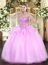 Lilac Sweet 16 Quinceanera Dress Sweet 16 and Quinceanera with Appliques Sweetheart Sleeveless Lace Up