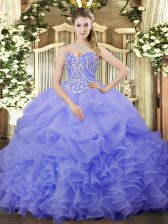 Cute Floor Length Lavender Quinceanera Gowns Sweetheart Sleeveless Lace Up