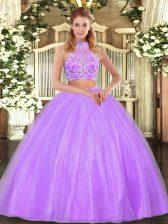 Custom Design Floor Length Lilac Sweet 16 Quinceanera Dress Tulle Sleeveless Beading