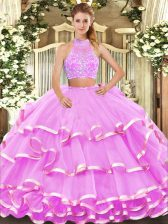 Tulle Sleeveless Floor Length Quince Ball Gowns and Beading and Ruffled Layers