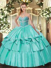 Popular Apple Green Organza and Taffeta Lace Up Sweet 16 Dresses Sleeveless Floor Length Beading and Ruffled Layers