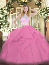Floor Length Zipper Quinceanera Gowns Rose Pink for Military Ball and Sweet 16 and Quinceanera with Lace and Ruffles