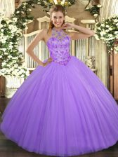 High Class Lavender Sleeveless Floor Length Beading Lace Up Sweet 16 Quinceanera Dress