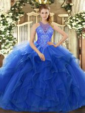 Sleeveless Organza Floor Length Lace Up Vestidos de Quinceanera in Blue with Beading and Ruffles