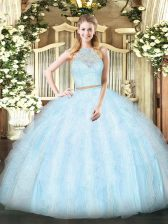 Sleeveless Zipper Floor Length Lace and Ruffles Quinceanera Dresses