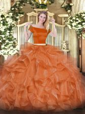 Orange Red Short Sleeves Organza Zipper Quinceanera Dress for Military Ball and Sweet 16 and Quinceanera
