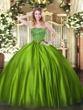 Eye-catching Olive Green Ball Gowns Beading Quinceanera Gown Lace Up Satin Sleeveless Floor Length