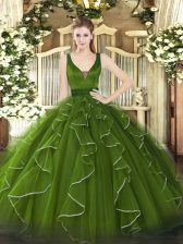 Olive Green Lace Up Ball Gown Prom Dress Beading and Ruffles Sleeveless Floor Length